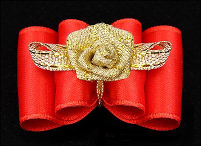 Satin-Haarspange »Gold-Rose Exclusiv« Red