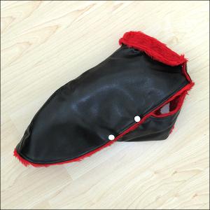 Yorkie-Mantel »Helsinki« - Schwarz mit rotem Kragen