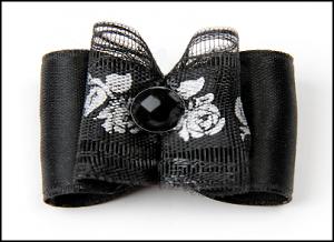 Satin-Haarspange »Black Roses«