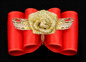 Satin-Haarspange »Gold-Rose Exclusiv« Red