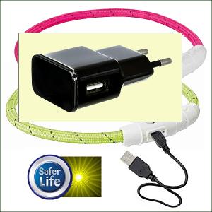 USB-Adapter zum Aufladen der Leucht-Halsbänder